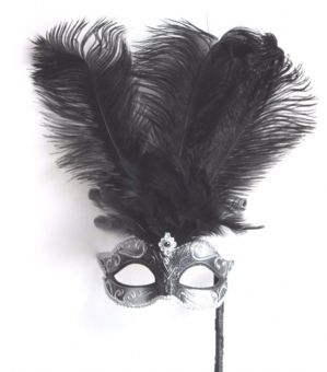 Silver and Black Mask - Mask on Stick | Masks and Tiaras